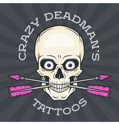 Tattoo parlor logo template Hipster skull with vector