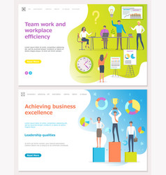 teamwork efficiency people with awards for work vector image