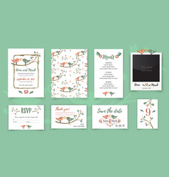template wedding card with cute birds on a tree vector image