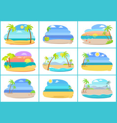 Tropical beaches with blue sea and tall palms vector