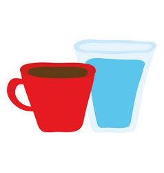 Water glass with coffee cup vector