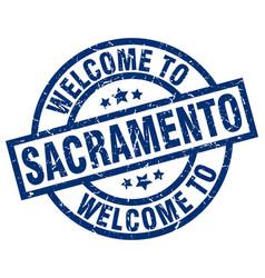 Welcome to sacramento blue stamp vector