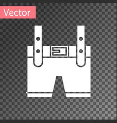 White lederhosen icon isolated on transparent vector