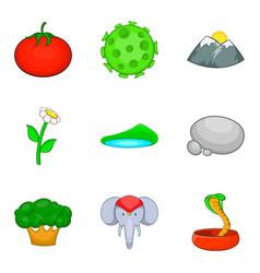 Wild prey icons set cartoon style vector
