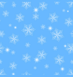 winter seamless pattern with snowflakes sparkles vector image