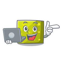 with laptop square character cartoon style vector image
