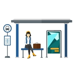 Woman waiting for bus vector