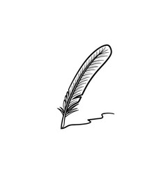 Writing feather hand drawn sketch icon vector