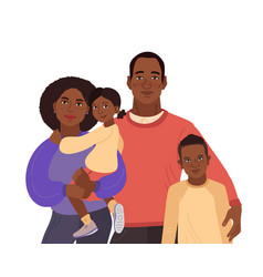 Young african-american family portrait mom dad vector
