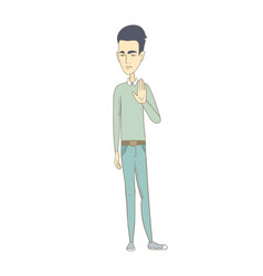 Young asian man showing palm hand vector