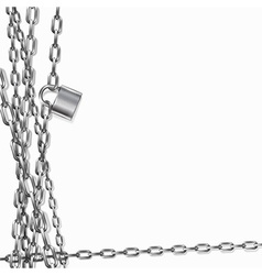 background - metal chain and padlock vector image