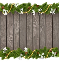 Christmas Old Board with Paper Decoration vector image vector image