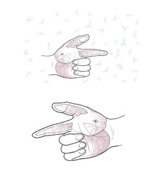 hand gesture with rabbit painting on white backgro vector image vector image