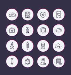 medicine line icons set vector image vector image