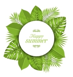 Natural Card with Green Tropical Leaves vector image vector image