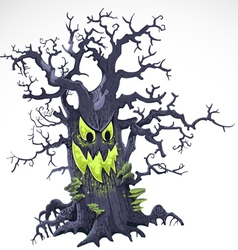 Terrible Halloween cartoon tree with a grin vector image vector image