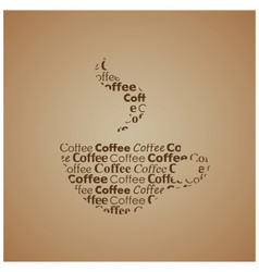Coffee cup with different fonts stylized image vector image vector image