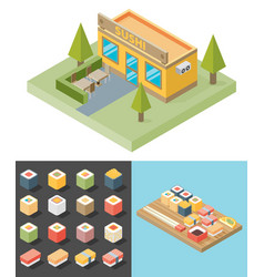 Isometric sushi restaurant cafe building icon vector