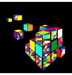 Rubik cube 3d with black background vector