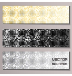 Set of banners with shiny metallic paillettes vector