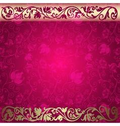 Vintage floral purple and gold frame vector image vector image