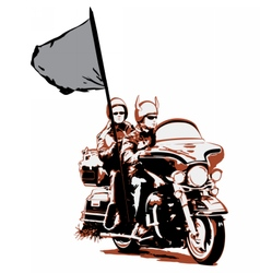 Couple riding motorcycle with flag vector image vector image