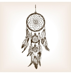 Dreamcatcher hand drawn sketch style vector image vector image