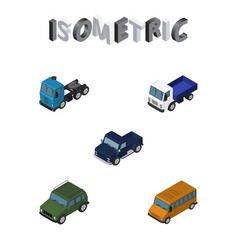 Isometric car set of autobus lorry suv and other vector
