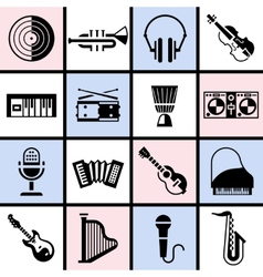 Musical instruments black set vector image