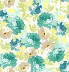 Seamless floral pattern with blue roses vector image