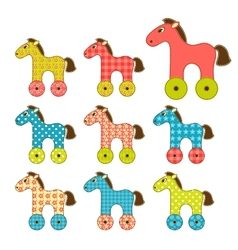 Set of patchwork horses 2 vector image vector image