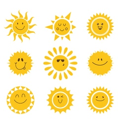 set of sun icons Collection of suns vector image vector image