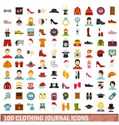 100 clothing journal icons set flat style vector image