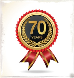 70 years Anniversary golden label with ribbon vector image