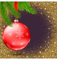 Christmas ball with snowflakes and branches of fir vector image vector image
