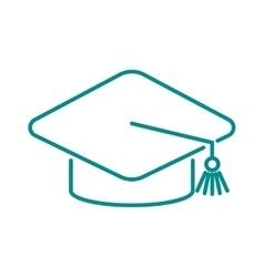 Graduation cap diploma web outline hat icon vector image