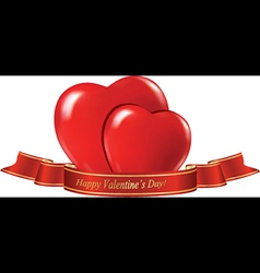 hearts and ribbon Valentines day vector image