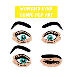 pop art cartoon comic surprise wink woman eyes vector image vector image