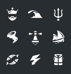 Set of neptune icons vector