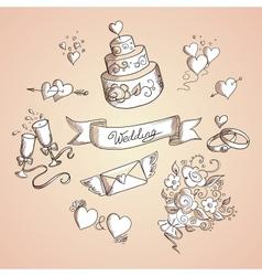 Sketch of wedding design elements vector image
