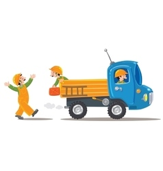 Three funny workers and truck vector image