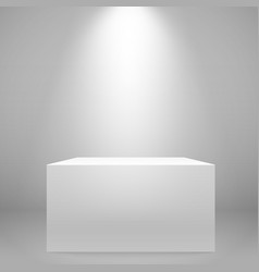 white illuminated wide stand on the wall mockup vector image