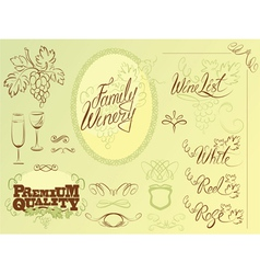 wine calligraphy 2colors 380 vector image vector image