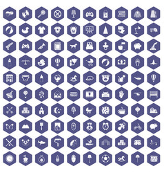 100 nursery icons hexagon purple vector