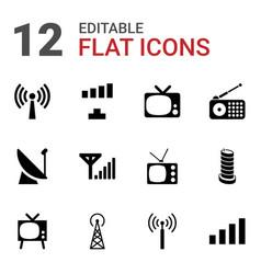 12 antenna icons vector