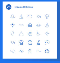 25 hat icons vector