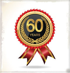 60 years Anniversary golden label with ribbon vector