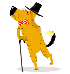 a dog dressed as a gentleman pince-nez and vector image
