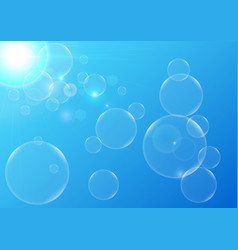 abstract bubbles with blue color background vector image