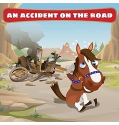 Accident on the road and contused horse vector